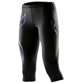 2XU W's Compression 3/4 Tights Black/Amethyst logo
